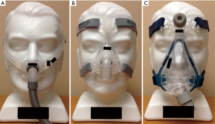 Fig. 1.  (A) Nasal pillows mask; (B) nasal mask; (C) oronasal mask.