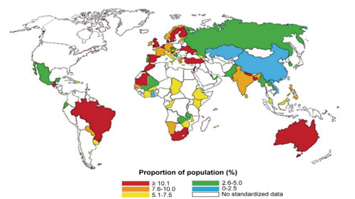 Shows the world map of prevalence of diagnosed asthma